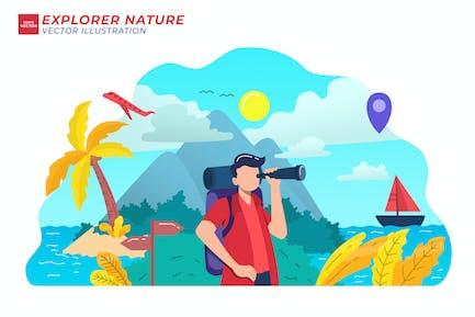 Explore Nature Flat Illustration