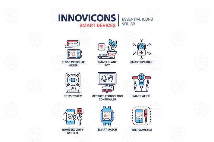 Cover Image For Smart Device - modern vector line icons set
