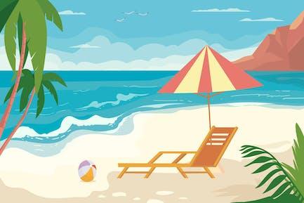 Sunny Beach - Fondo de ilustración