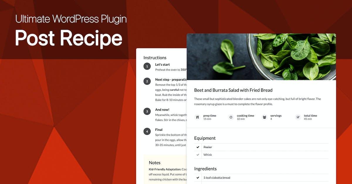 Download Ultimate Post Recipe Plugin for WordPress by dedalx