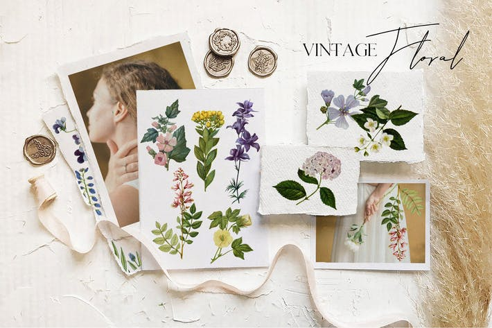Thumbnail for Beautiful retro flowers - illustrations set