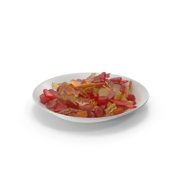 Plate with Mixed Gummy Candy