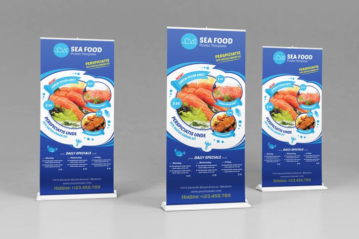 Thumbnail for Seafood Restauran - Open hours/ RollUp Template