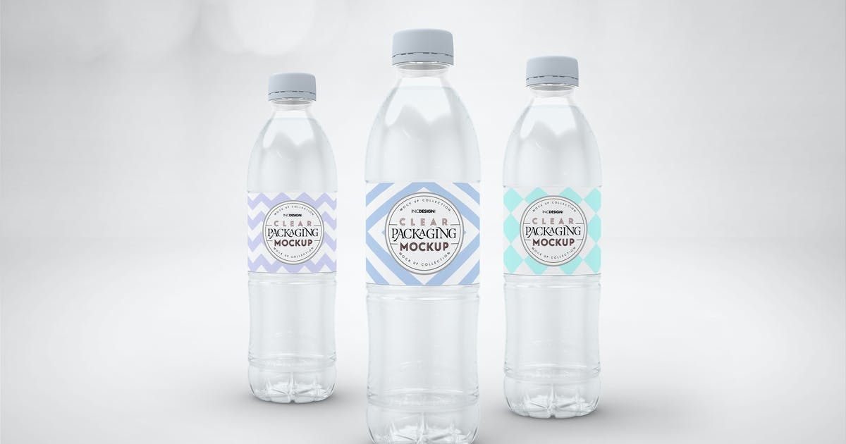 Download Clear Bottle Set Packaging Mockup by ina717