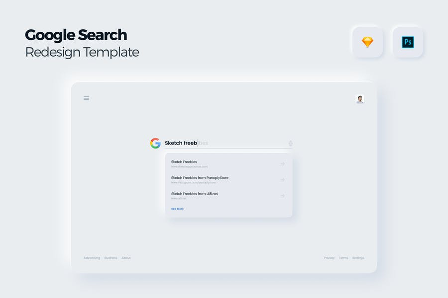 Google Search Redesign Concept UI Kit Template