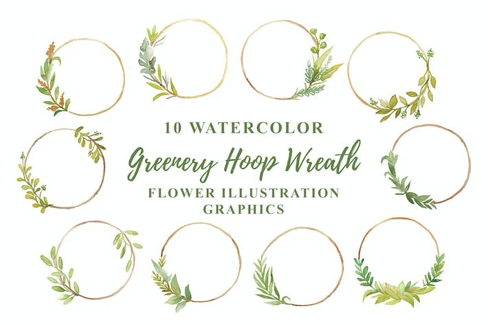 Thumbnail for 10 Watercolor Greenery Hoop Wreath Flower