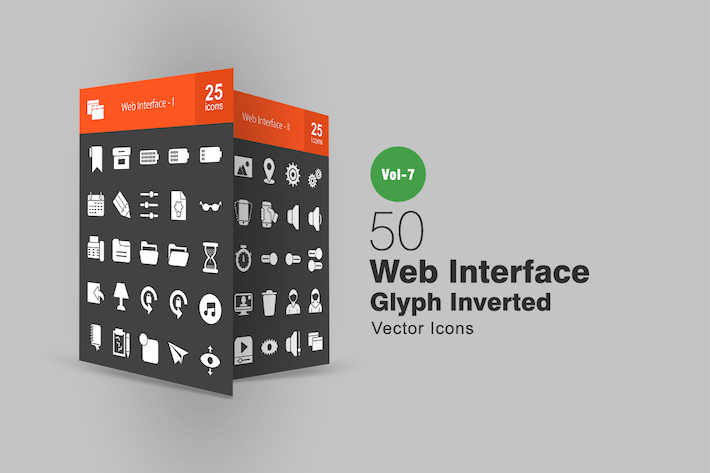 Thumbnail for 50 Web Interface Glyph Inverted Icons