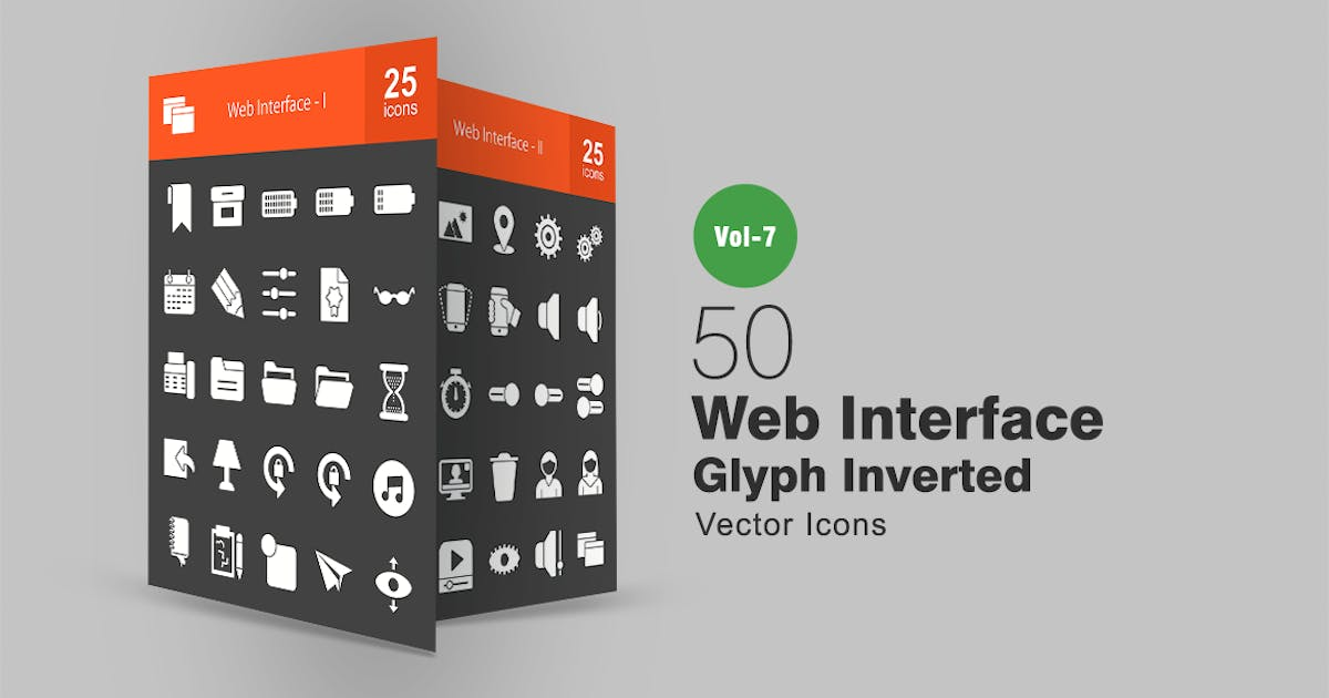 50 Web Interface Glyph Inverted Icons by IconBunny