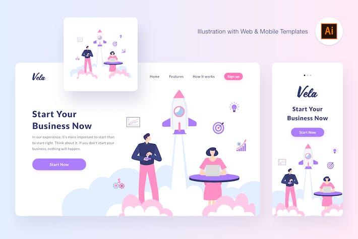 Thumbnail for Vela startup illustration (Illustrator, SVG)