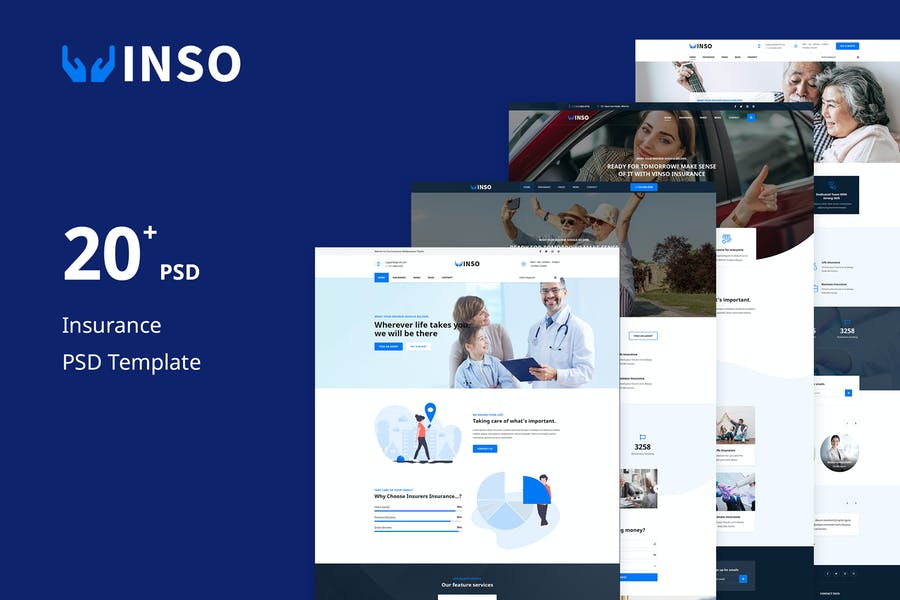 Vinso | Insurance PSD Template