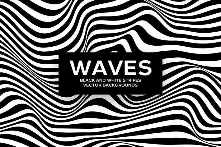 Thumbnail for Black and White Striped Waves Vector Backgrounds
