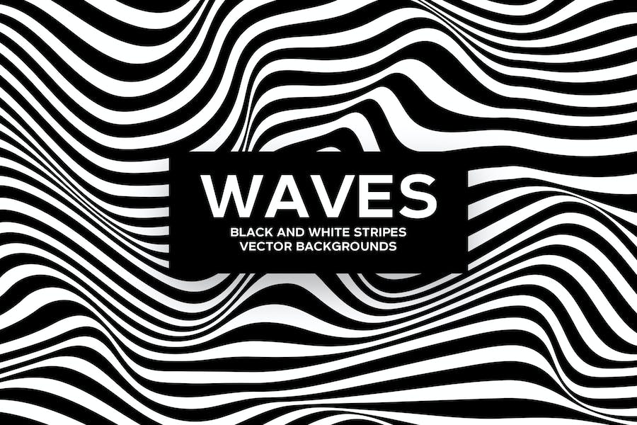 Black and White Striped Waves Vector Backgrounds