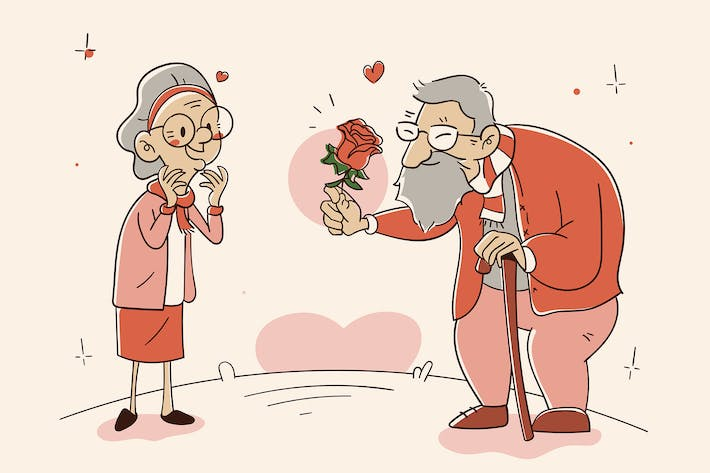 Old Couple  - Cartoon Illustration