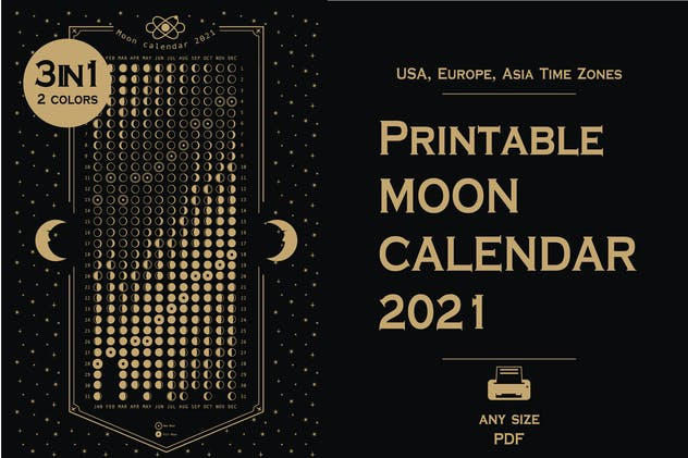 Printable 2021 Moon phases calendar