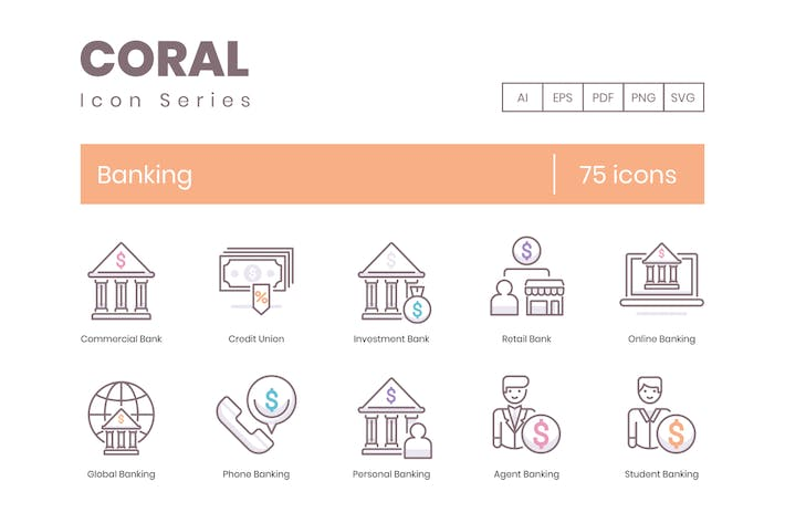 Thumbnail for 75 Banking Icons - Coral Series