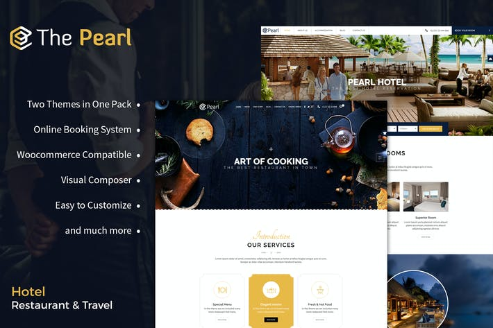 Restaurant and Hotel WordPress Theme - Pearl
