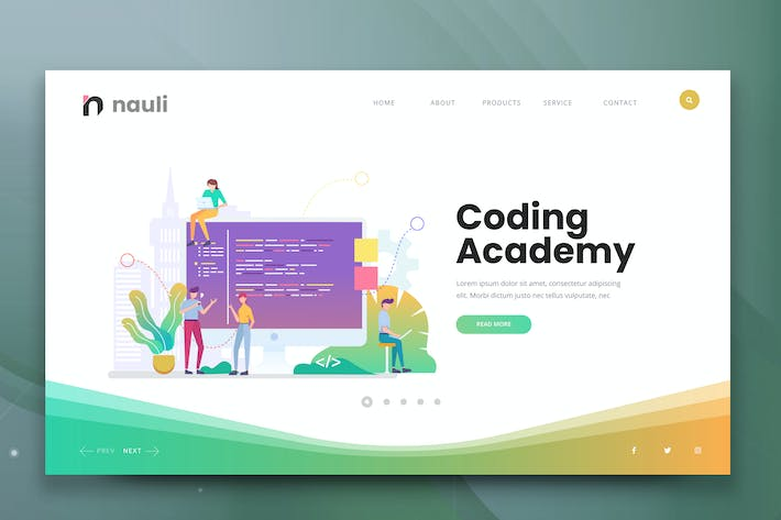 Thumbnail for Coding Academy Web PSD and AI Vector Template