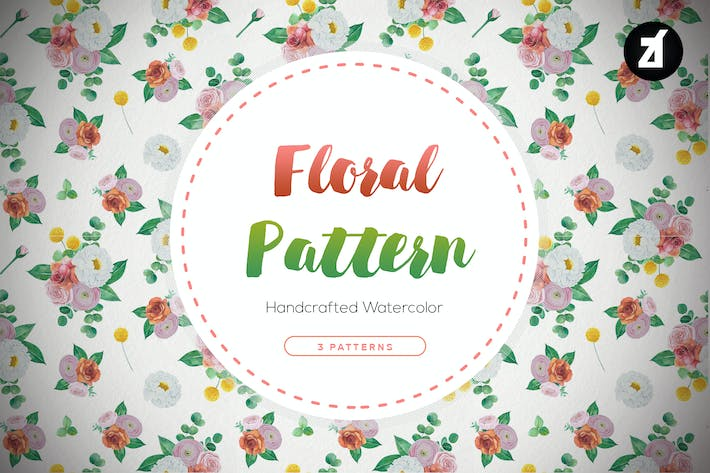 Thumbnail for Floral pattern hand-drawn watercolor illustration