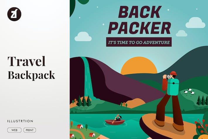Thumbnail for Backpacker illustration and poster layout