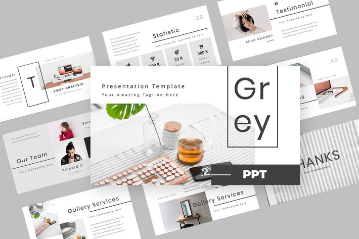 Thumbnail for Серый - мода Powerpoint презентация