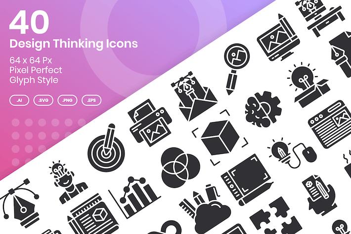 40 Design Thinking Icons Set - Glyph