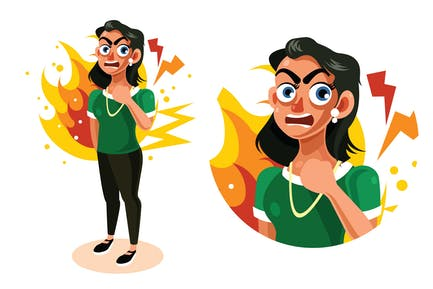Angry and Frustrated Woman Expression Illustration