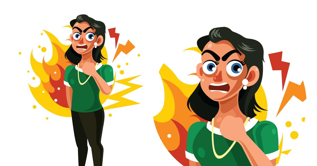 Download Angry and Frustrated Woman Expression Illustration by IanMikraz