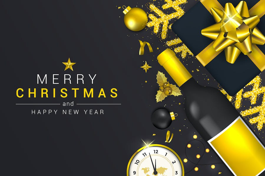 Merry Christmas and Happy New Year greeting cards
