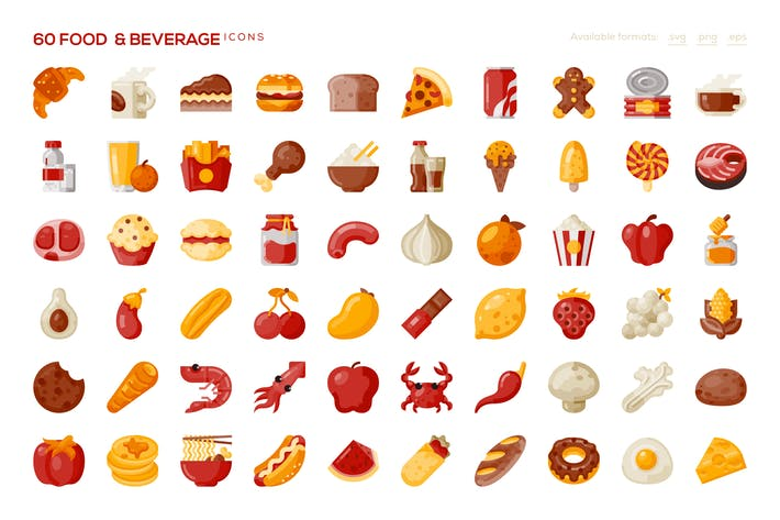 Thumbnail for 60 Food & Beverage Icons