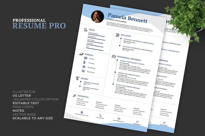Thumbnail for Blue Resume / CV Template Pro