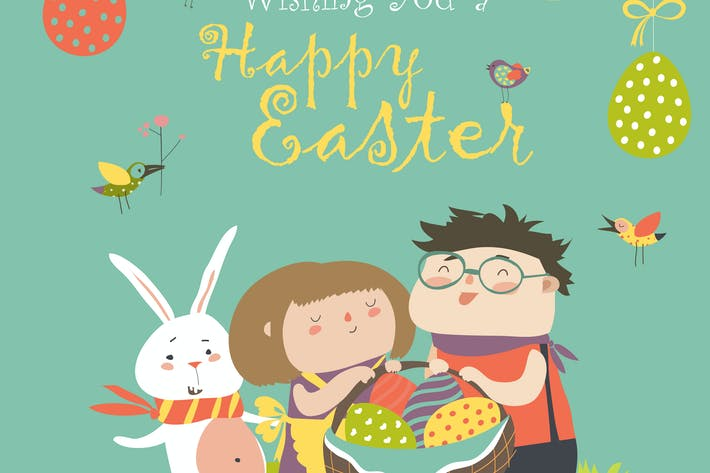 Thumbnail for Happy children holding a basket of Easter eggs