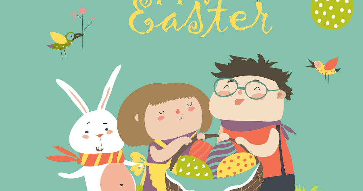Download Happy children holding a basket of Easter eggs by masastarus