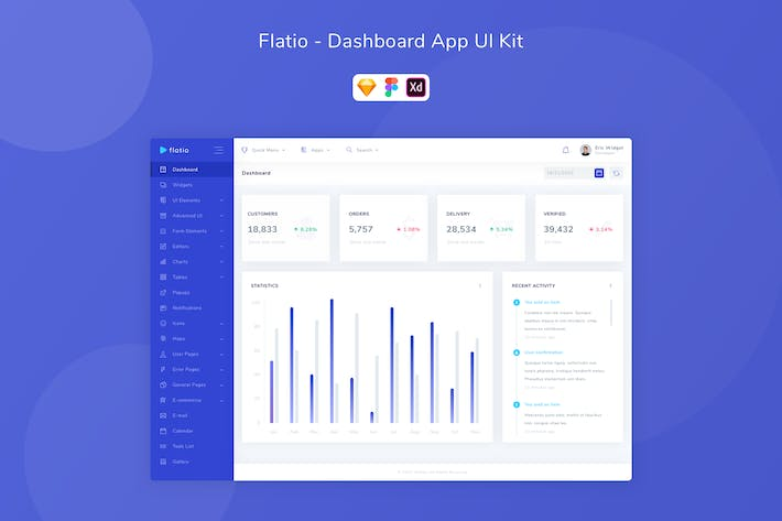 Thumbnail for Flatio - Dashboard App UI Kit