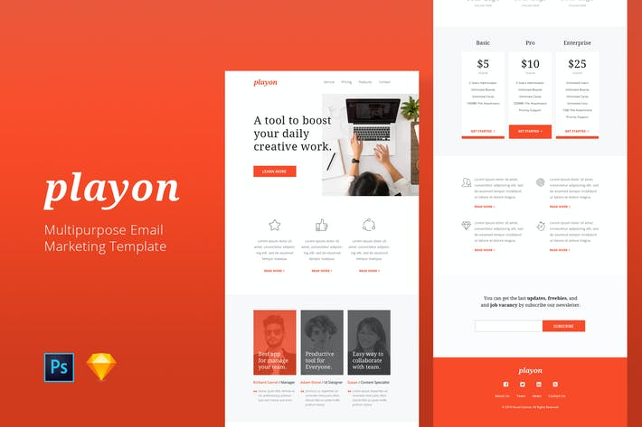 Thumbnail for Playon - Email Newsletter Template