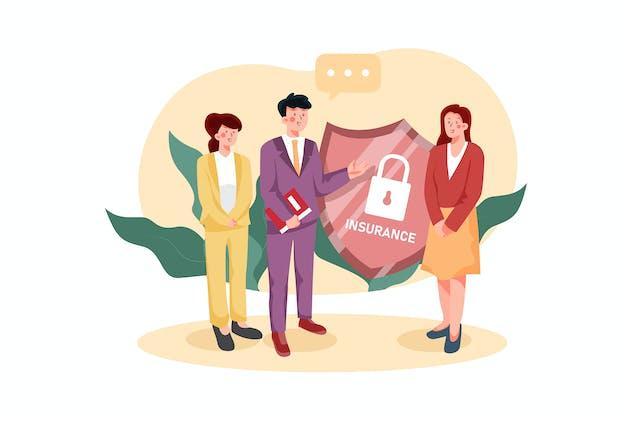Insurance Agent Team Illustration Concept