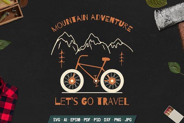 Adventure Badge with Bicycle. Vintage Emblem