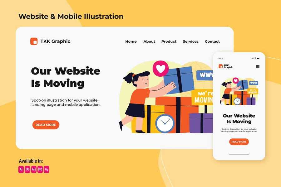 Website moving announcement web and mobile