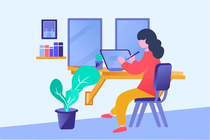 Thumbnail for Work From Home - Vector Illustration