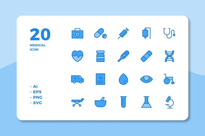 Thumbnail for 20 Medical Icons (Lineal Color)
