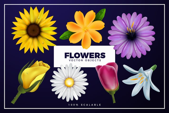 Cover Image For Realistic Spring Flowers