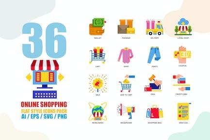 Online Shopping Flat Style Icon set
