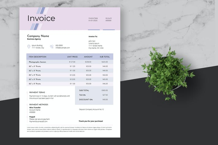 Cover Image For Clean Invoice Template with Pink Style