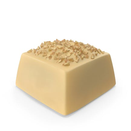 Square white Chocolate Candy with Nuts