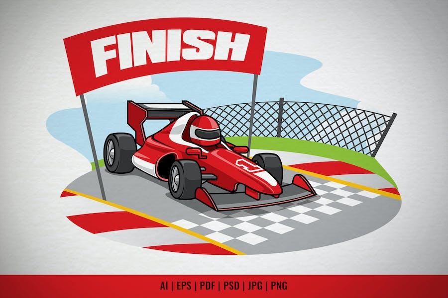 Formel-Rennwagen Erreiche die Ziellinie