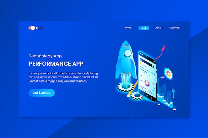 Thumbnail for Technology  App Isometric Concept Landing Page