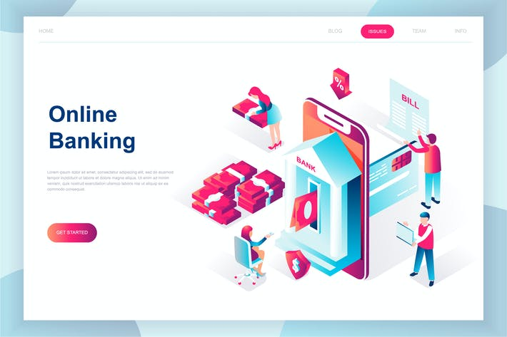 Thumbnail for E-banking Isometric Landing Page
