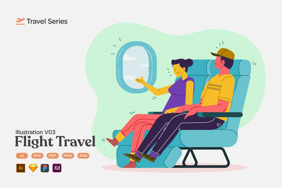 Travel Illustration V03 Airplane Flight
