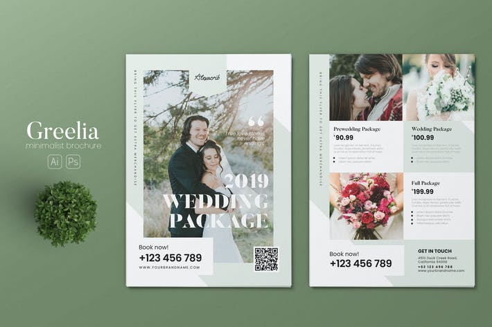 Thumbnail for Minimalist Wedding Package AI and PSD Flyer Vol.2