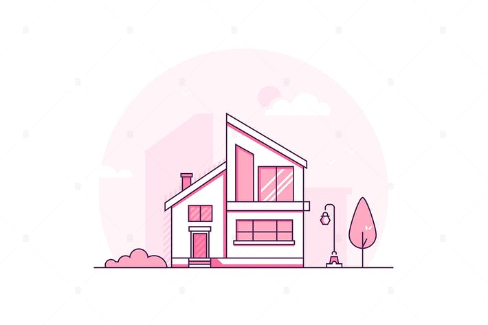 Thumbnail for Cottage house - thin line design illustration