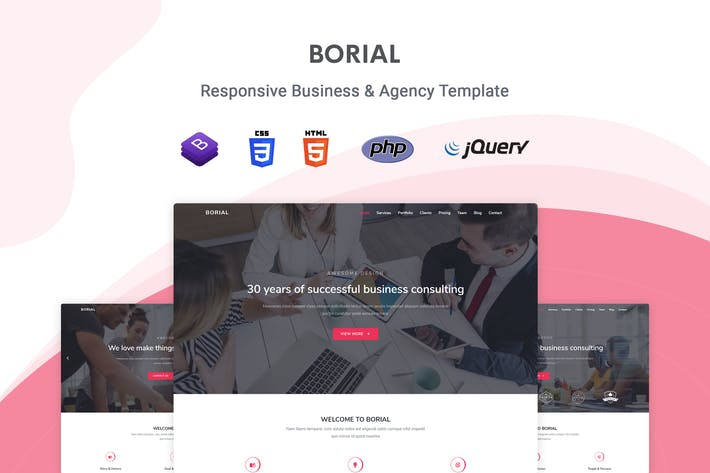 Thumbnail for Borial - Bootstrap 4 Business & Agency Template